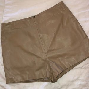 Leather Camel Shorts